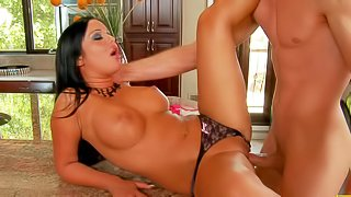 Angelica Heart is a gorgeous brunette with perfect round boobs. He meets her when he pays a visit to his dad. Shes s hot blooded bitch that takes his love bone in her pink pussy eagerly