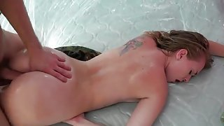 Delightful brunette hussy get real hard fuck out-of-doors