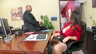 Busty brunette fucked in the office