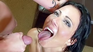 Black haired pornstar sluts Randy Spears, Syren De Mer, Yuki Mori and Chastity Lyn gets filmed in close up while Kyle Stone and Mark Wood are spraying their faces with massive loads of cum