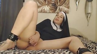 Perfect dirty talking Assondra Sexton with a nun outfit