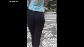 Hot Blonde with Amazing Ass walks on the street in Tight Pants