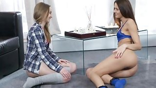 Lesbea Young girlfriends home alone share pussy eating orgasms 69 and trib