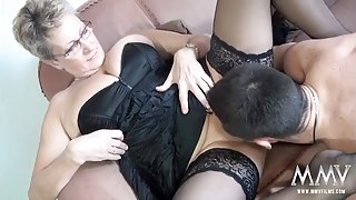 Granny in lingerie is a fuck slut for young dick
